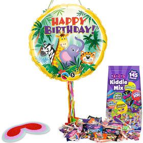 Jungle Friends Birthday Pull String Pinata Kit