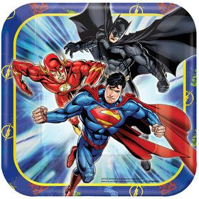 "Justice League 7"" Square Cake Plates (8 Count)"
