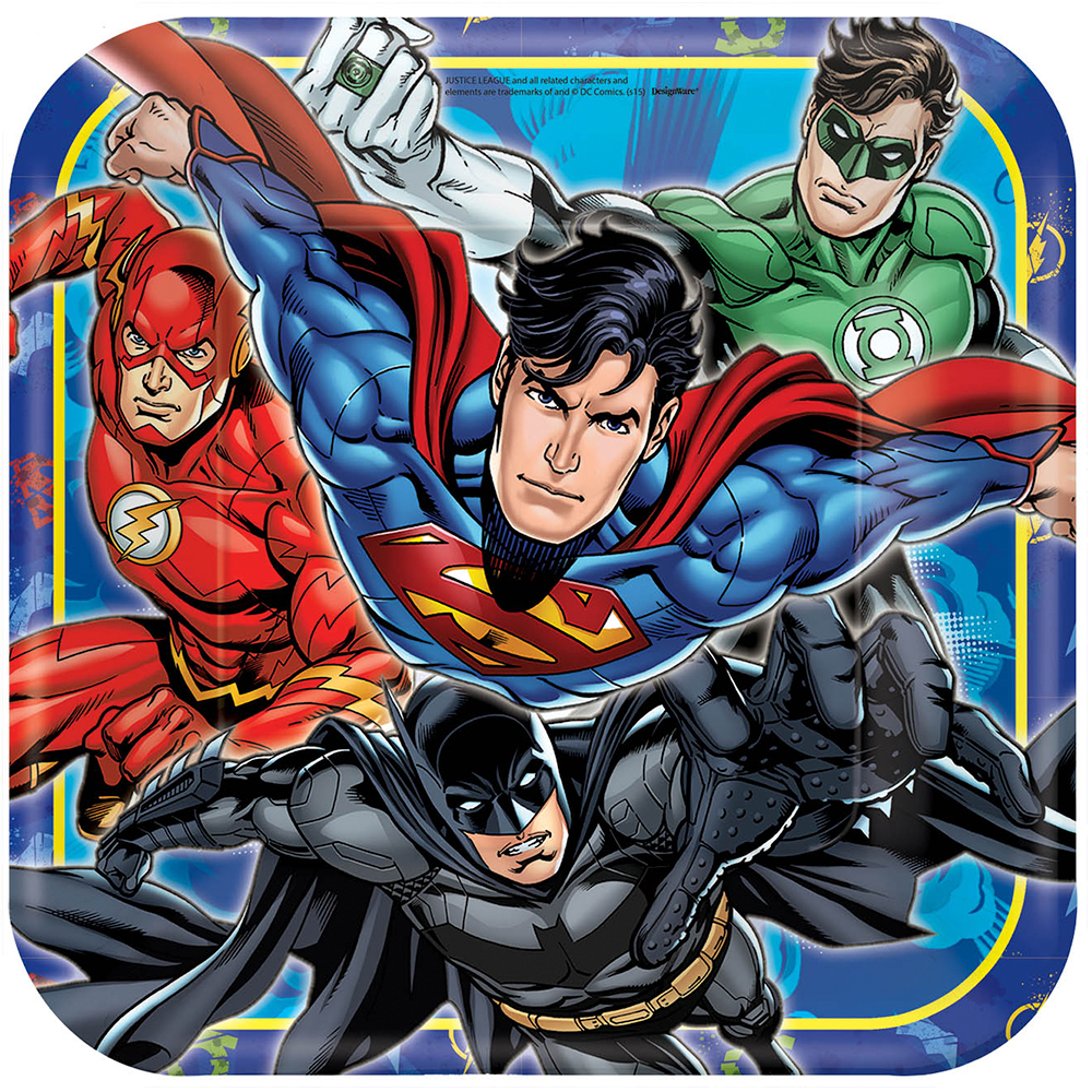 "Justice League 9"" Square Luncheon Plates (8 Count) - Party Supplies BB551585"