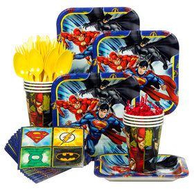 Justice League Birthday Party Standard Tableware Kit (Serves 8)