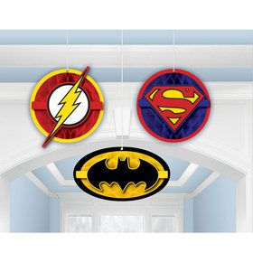 Justice League Honeycomb Decorations (3 Pieces)