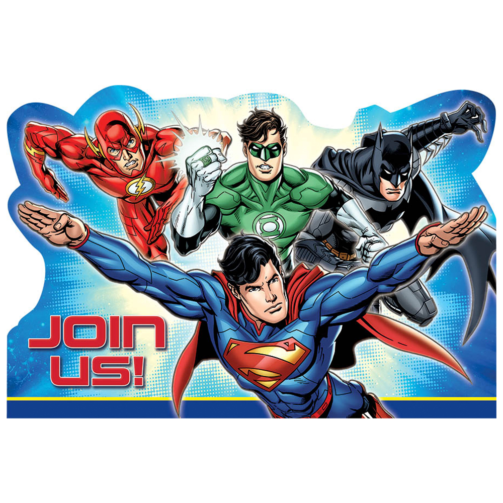 Justice League Postcard Invitations (8 Count) BB491585