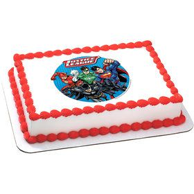 Justice League Quarter Sheet Edible Cake Topper (Each)