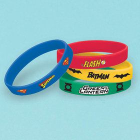 Justice League Rubber Bracelet Favors (4 Count)