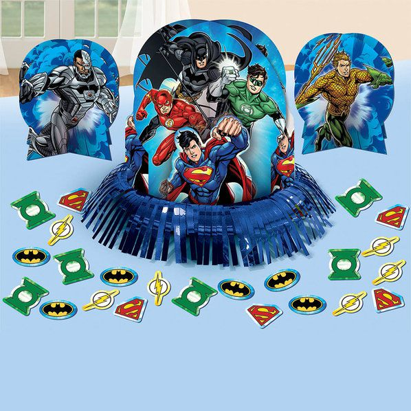 Justice league table decorating kit each centerpieces