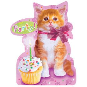 Kitty Cat Birthday Party Invitations (8 Count)