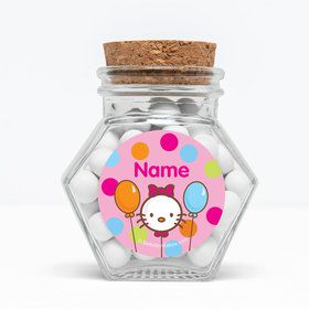 "Kitty Personalized 3"" Glass Hexagon Jars (Set of 12)"