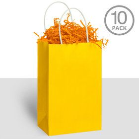 Kraft Handle Bags Yellow (10 Pack)