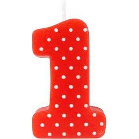 Red Polka Dot 1st Birthday Candle (Each)