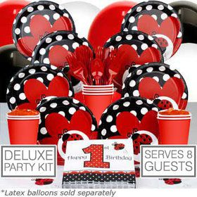 Ladybug 1st Birthday Deluxe Tableware Kit Serves 8