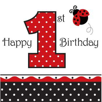 Ladybug 1st Birthday Napkins (16-pack) - Party Supplies