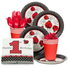 Ladybug 1st Birthday Standard Tableware Kit Serves 8