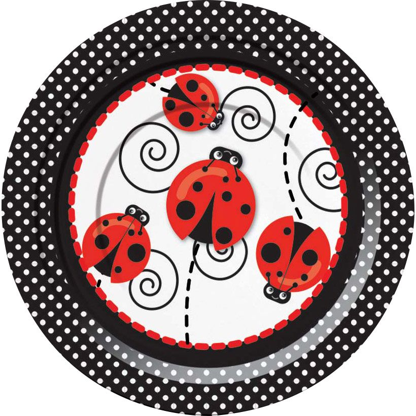 "Ladybug 7"" Cake Plates (8 Pack) - Party Supplies BB72928"