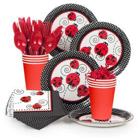 Ladybug Birthday Party Standard Tableware Kit Serves 8