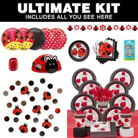 Ladybug Birthday Party Ultimate Tableware Kit Serves 8