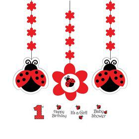 Ladybug Party Dangling Cutout (3-pack)