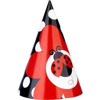 Ladybug Birthday Party Supplies Hats (8-pack)