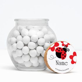 "Ladybug Party Personalized 3"" Glass Sphere Jars (Set of 12)"