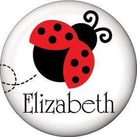 Ladybug Party Personalized Mini Button (each)