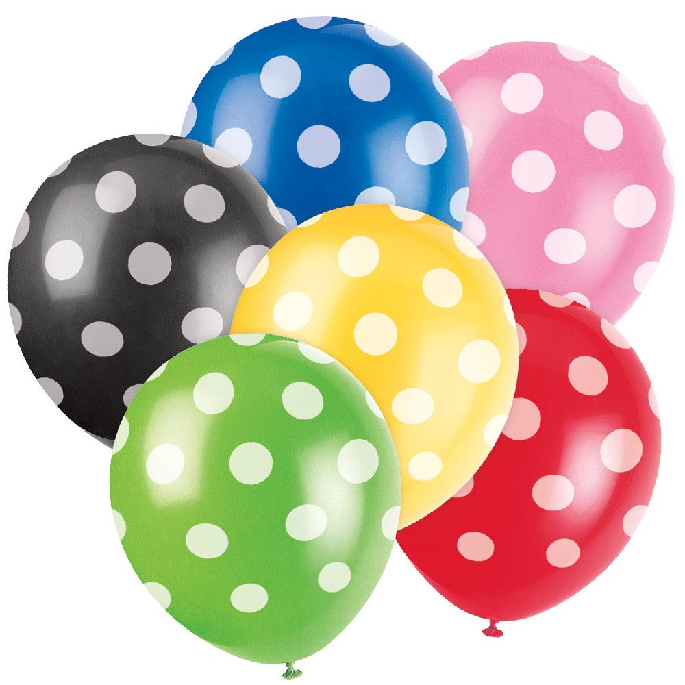 "Latex 12"" Dots Balloons (6 Pack) BB57593-RED"
