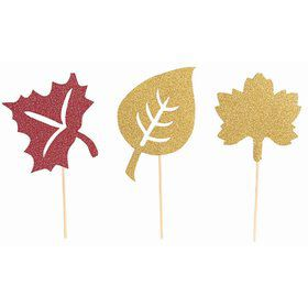 Leaves Cupcake Picks Gold & Red