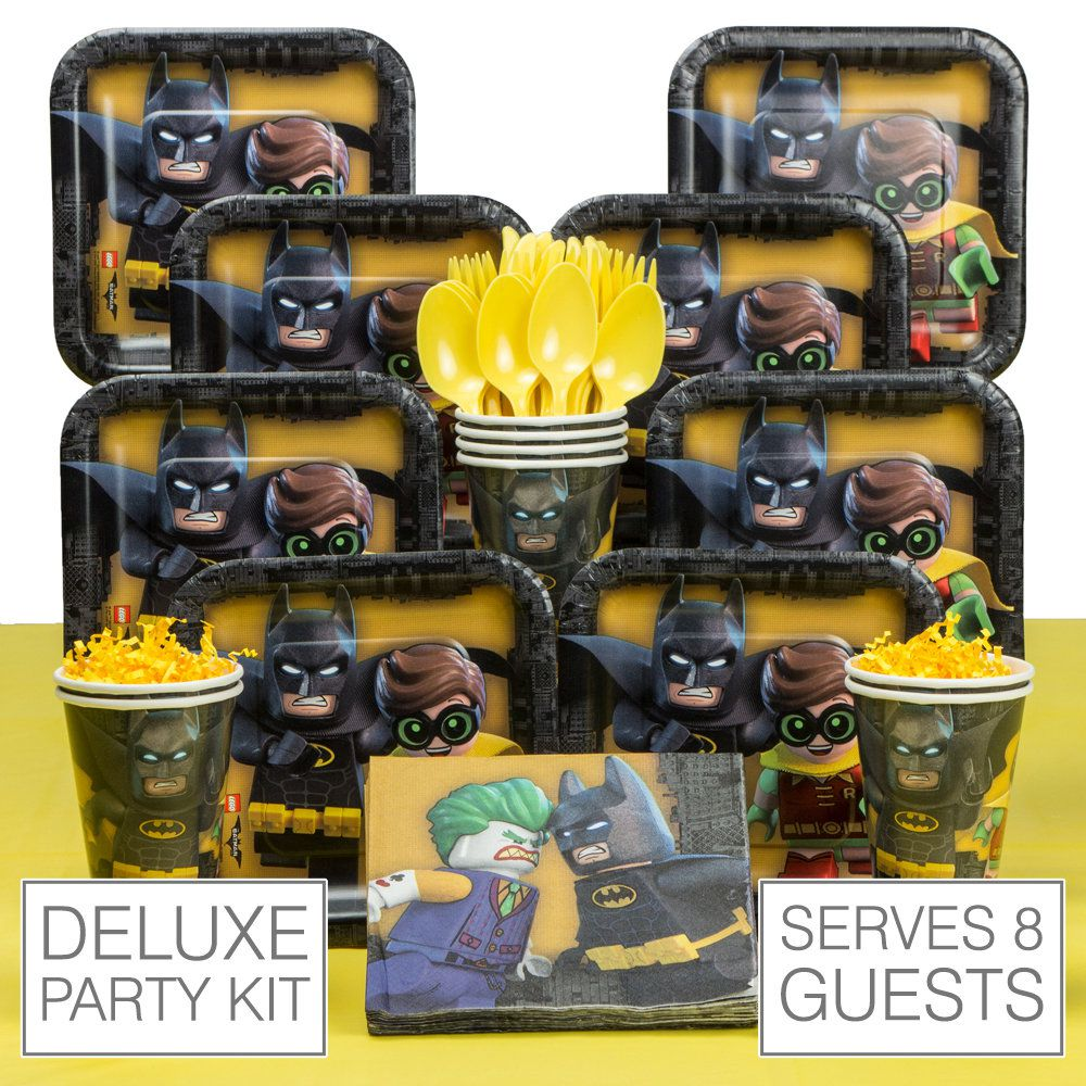 Lego Batman Deluxe Tableware Kit (Serves 8) & Lego Batman Deluxe Tableware Kit | Lego Batman party supplies from ...