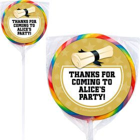 Gold Grad Personalized Lollipops (12 Pack)