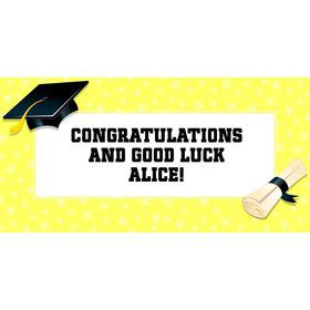 "Lemon Yellow Graduation Personalized Giant Banner 60X3"" (Each)"