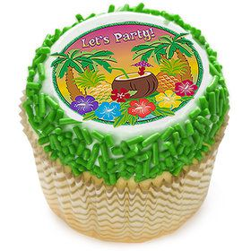 "Let's Party Luau 2"" Edible Cupcake Topper (12 Images)"