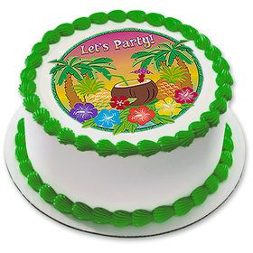 "Let's Party Luau 7.5"" Round Edible Cake Topper (Each)"