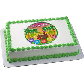 Let's Party Luau Quarter Sheet Edible Cake Topper (Each)