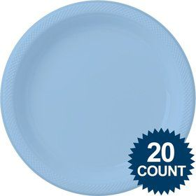 Light Blue 10? Plastic Dinner Plates (20 Pack)
