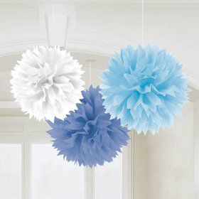 "Light Blue 16"" Fluffy Tissue Decorations (3 Pack)"