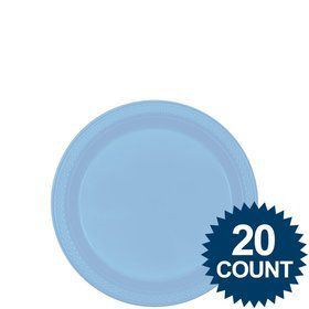 "Light Blue 7"" Plastic Cake Plates (20 Pack)"