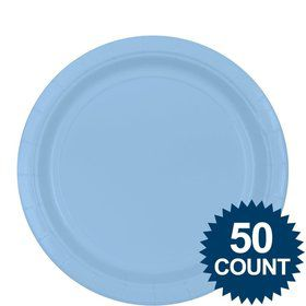"Light Blue 9""? Paper Luncheon Plates (50 Pack)"