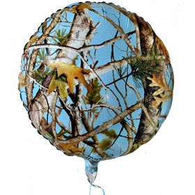 "Light Blue Camo 18"" Round Mylar Balloon"