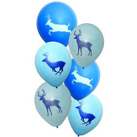 "Light Blue Camo Buck 12"" Latex Balloons (6 Count)"