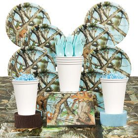 Light Blue Camo Party Deluxe Tableware Kit Serves 8