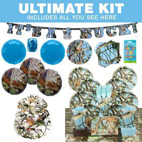 Light Blue Camo Party Ultimate Tableware Kit Serves 8