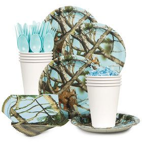 Light Blue Camo Standard Tableware Kit Serves 8