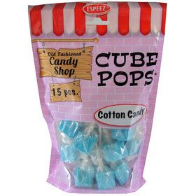 Light Blue Cotton Candy Cube Pops (15 Count)