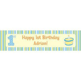 Lil' Boy 1st Birthday Personalized Banner (each)