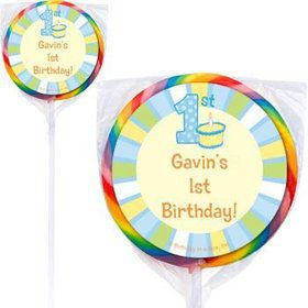 Lil' Boy 1st Birthday Personalized Lollipops (pack of 12)