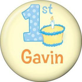 Lil' Boy 1st Birthday Personalized Mini Button (each)