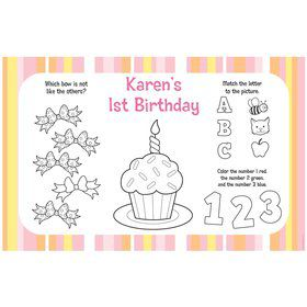 Lil' Girl 1st Birthday Personalized Activity Mats (8-Pack)