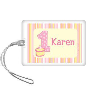 Lil' Girl 1st Birthday Personalized Bag Tag (each)