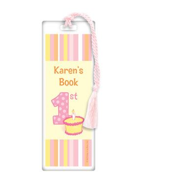 Lil' Girl 1st Birthday Personalized Bookmark (each) BB017255