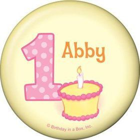 Lil' Girl 1st Birthday Personalized Button (each)
