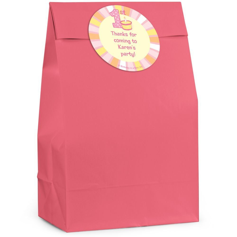 Lil Girl 1st Birthday Personalized Favor Bag Set Of 12