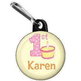 Lil' Girl 1st Birthday Personalized Mini Zipper Pull (each)